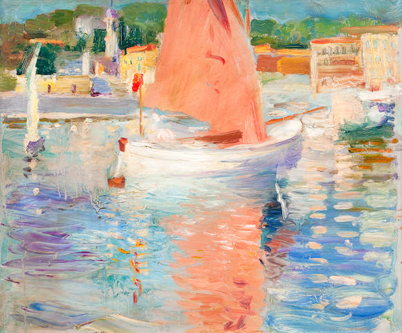 Attributed to George Leslie Hunter (British, 1877-1931) French coastal scene, possibly Cap Ferrat 32.5 x 41 cm. (12 13/16 x 16 1/8 in.)