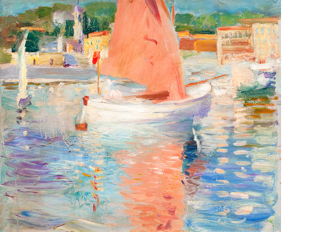 Attributed to George Leslie Hunter (British, 1877-1931) French coastal scene, possibly Cap Ferrat
