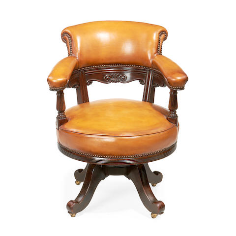 A late Victorian mahogany office chair