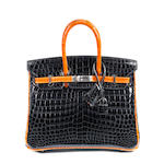 An Hermes 25cm black croc and orange Birkin and similar bracelet