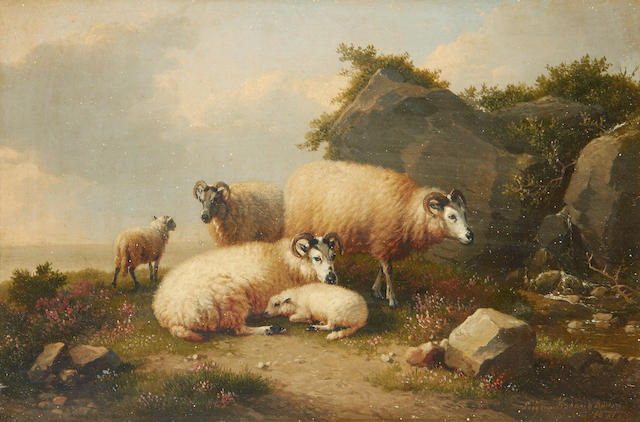 Eugène Verboeckhoven (Belgian, 1798-1881) Sheep by a coastal outcrop