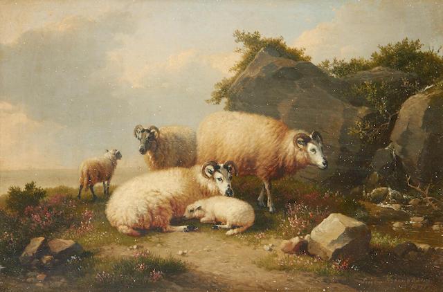Eugène Verboeckhoven (Belgian, 1798-1881) Sheep by a coastal outcrop