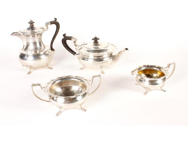 A silver four piece tea set by Elkington and Co Birmingham 1919