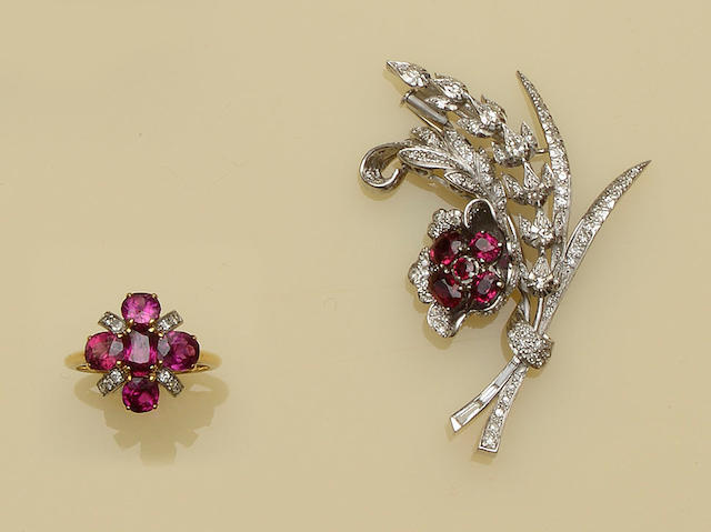 A ruby and diamond spray brooch and a ruby and diamond ring (2)