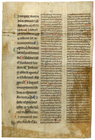 MANUSCRIPT LEAF, Psalm 105, verses 9-42, [?c. 14th or 15th century]