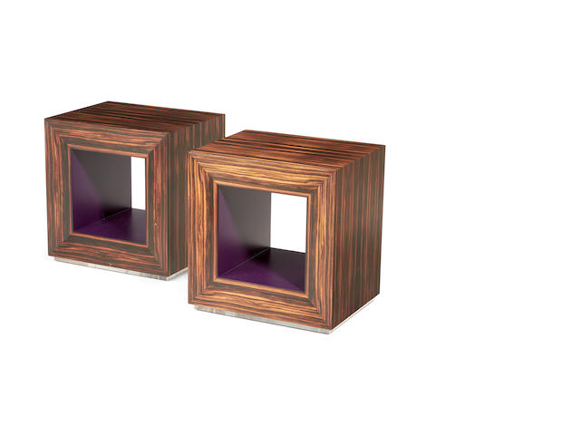 A pair of rosewood lamp tables made by David Linley