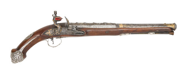 A French 18-Bore Silver-Mounted Flintlock Holster Pistol For The Turkish Market