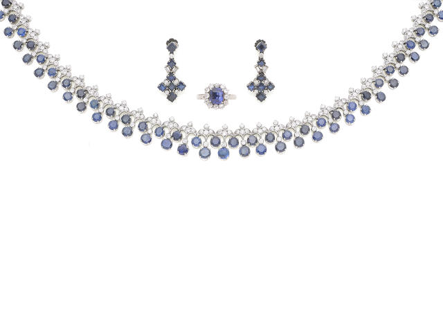 A sapphire and diamond collar necklace, earrings and ring, (3) (illustrated above)