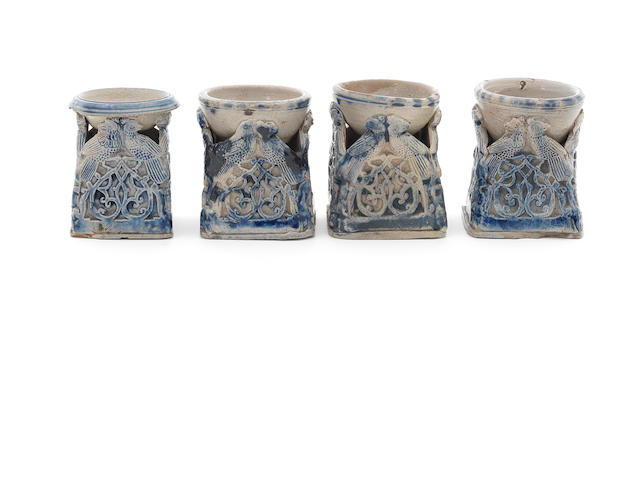 Four Westerwald stoneware salts, 16th century