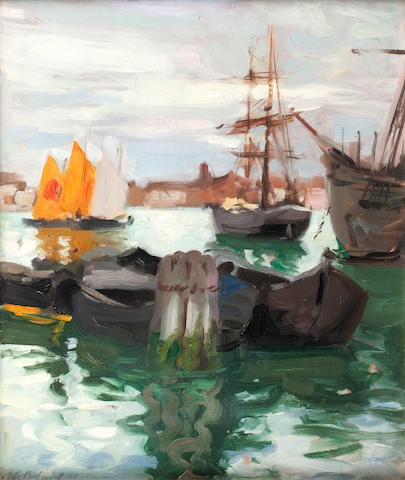 Francis Campbell Boileau Cadell, RSA RSW (British, 1883-1937) The Giudecca Canal, Venice  43 x 35 cm. (16 15/16 x 13 3/4 in.)