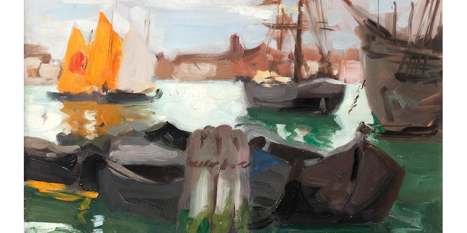 Francis Campbell Boileau Cadell, RSA RSW (British, 1883-1937) The Giudecca Canal, Venice 43 x 35 cm. (16 15/16 x 13 3/4 in.)