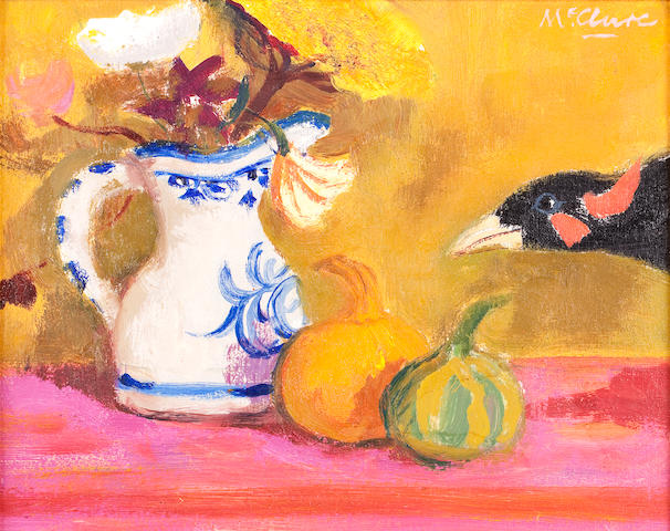 David McClure RSA RSW RGI (British, 1926-1998) Bird and Gourds 20.3 x 16.5 cm. (8 x 6 1/2 in.)