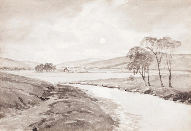 Tom Scott, RSA (British, 1859-1927) River Landscape 17.1 x 24.7 cm. (6 3/4 x 9 3/4 in.)