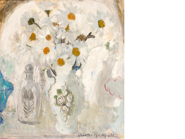 Anne Redpath, OBE RSA ARA LLD ARWS ROI RBA (British, 1895-1965) Daisies and bottle 48 x 43.8 cm. (18 3/4 x 17 1/4 in.)