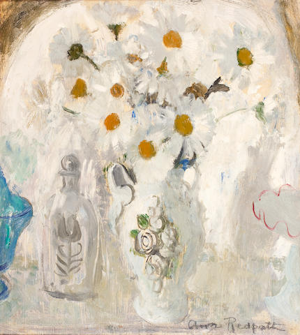 Anne Redpath, OBE RSA ARA LLD ARWS ROI RBA (British, 1895-1965) Daisies and bottle 48 x 43.8 cm. (18 3/4 x 17 1/4 in.)