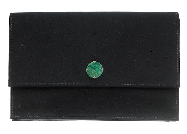 A silk, paste and diamond clutch bag and a leather ruby and diamond purse (2)