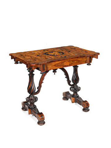 A Dutch 19th century walnut, fruitwood, ivory and mother of pearl inlaid table