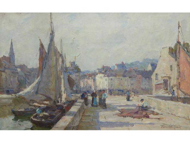 Terrick John Williams, RA (British, 1860-1936) A Sunny Morning, Honfleur 25 x 41cm.