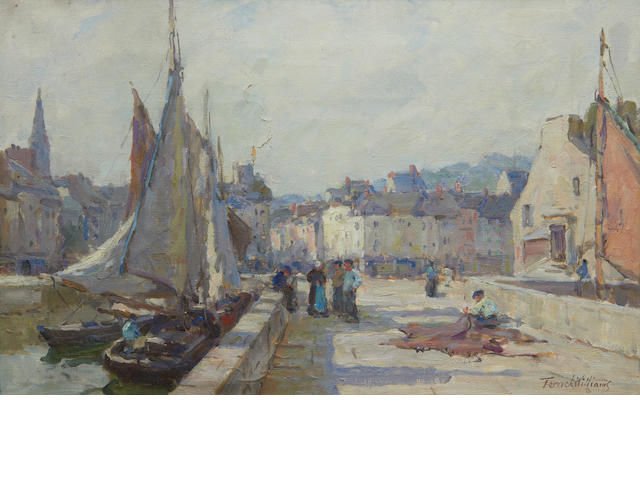 Terrick John Williams, RA (British, 1860-1936) A Sunny Morning, Honfleur 25 x 41cm.