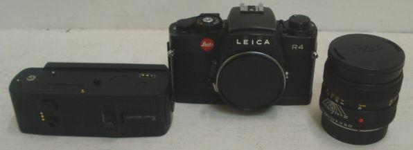 R4 Leica camera body, boxed, together with Motor Drice R, boxed, 90.1.8 R lens, zoom, a Rugula Variant 740-2 MFD Flash, a tripod and Leica equipment cases.