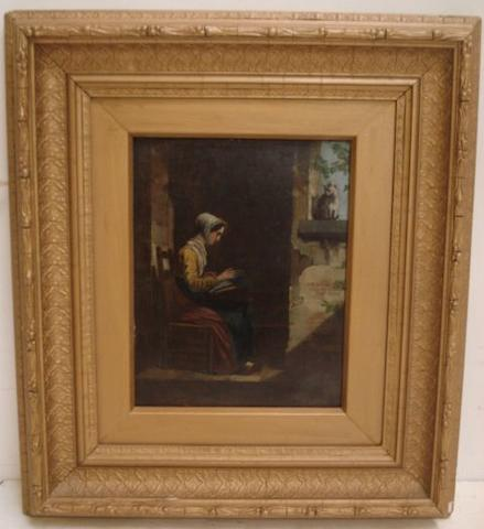 Continental school, 19th century Woman Seated by a Window 19.5 x 15.5cm.