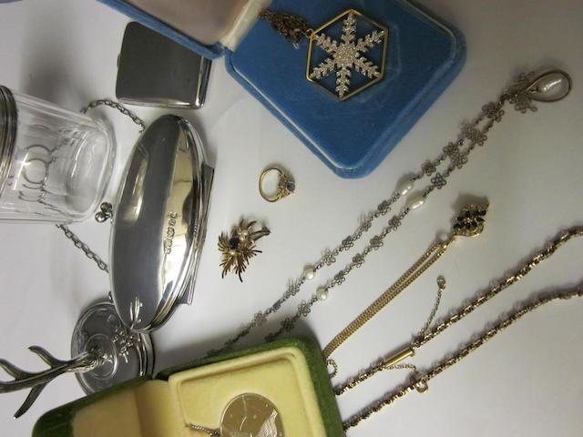 A 9carat gold sapphire and diamond pendant,