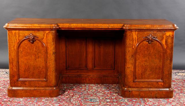 A Victorian walnut breakfront sideboard