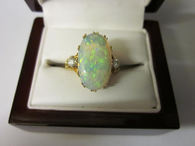 An opal and diamond ring,