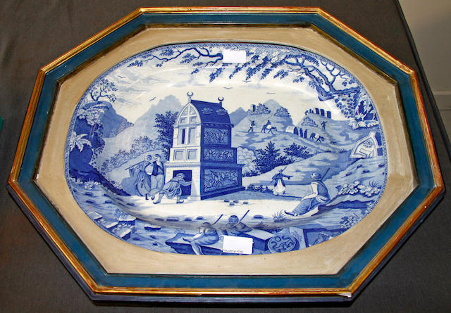 The 'Colossal Sarcophagus near Castle Rosso' blue and white transfer meat platter Maker unknown