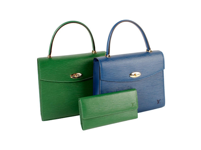 Two Louis Vuitton bags - one blue epi leather and one green epi leather