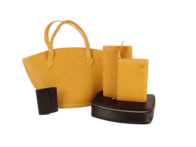 Five Louis Vuitton epi leather items - one yellow bag and two matching purses, one black jewellery case and a matching purse