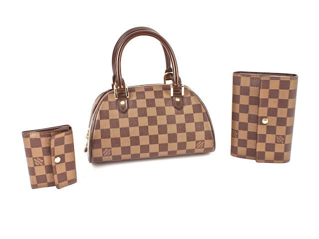 Three Louis Vuitton Damier items - one bowler bag and two matching purses