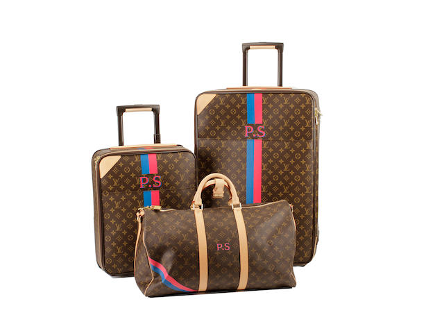 Three initialled Louis Vuitton brown and tan monogram luggage items