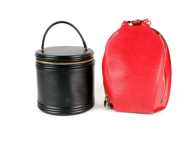 Two Louis Vuitton handbags - a red epi leather Mabillon backpack and a black epi leather vanity case