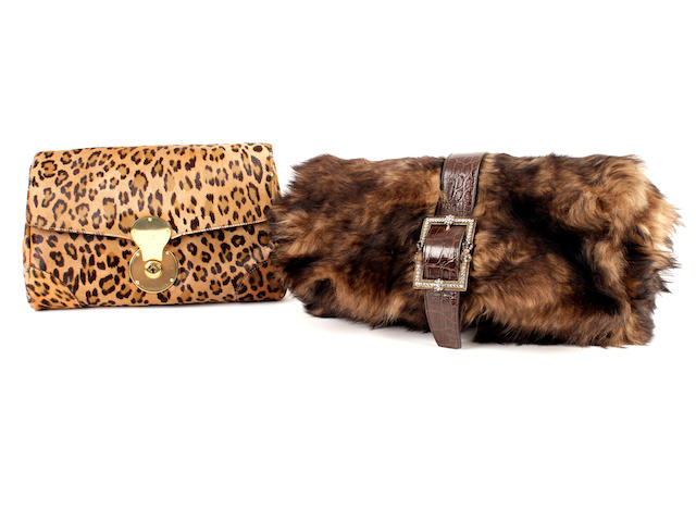 Two Ralph Lauren fur oversized clutch bags