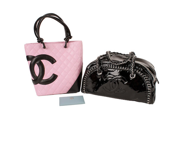 A Chanel pink quilted monogrammed bag, a black patent bowler and a blue card holder