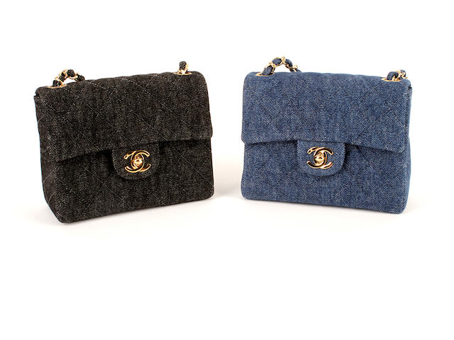Two Chanel mini 2.55s - one in blue denim, the other in black denim