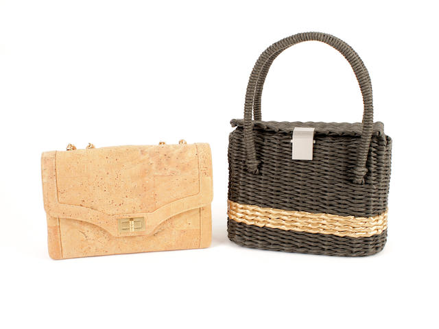 A Chanel woven rafia basket bag and a simulated cork suede bag