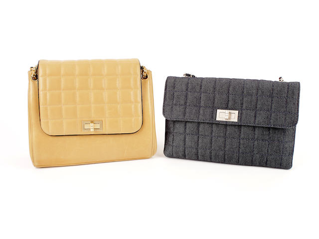 Two Chanel quilted bags- one denim and the other of tan leather