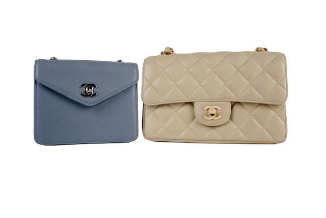 Two Chanel bags - one quilted cream, the other blue leather