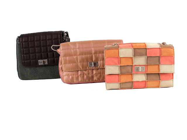 Three Chanel bags - one quilted and denim, one pink shot and the other multicoloured suede patchwork
