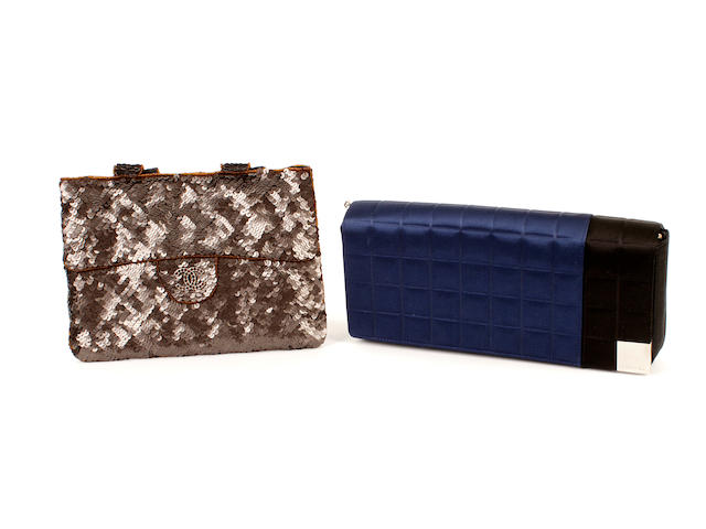 Two Chanel bags - one brown sequinned and one blue quilted satin