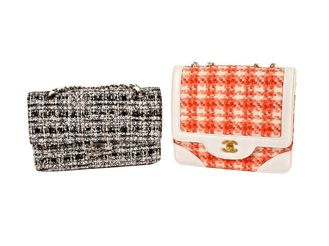 Two Chanel tweed bags - one monochrome 2.55 and the other orange and white