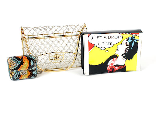 Three Chanel bags - one beaded perspex, one multicoloured snakeskin and one cartoon printed