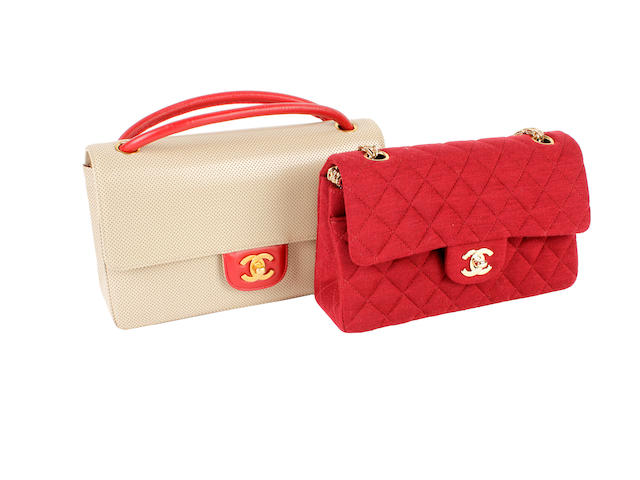 Two Chanel 2.55 bags - one of red quilted jersey, the other of beige and red leather