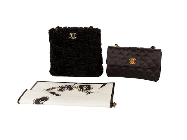 Three Chanel bags - one astrakhan, one black satin and another printed example