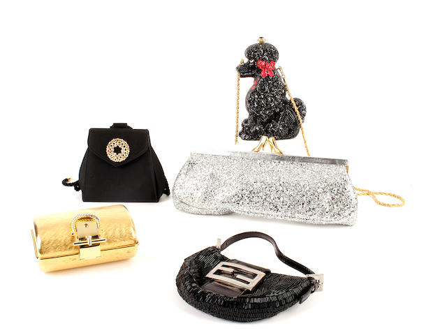 Five designer evening bags - a Kathrine Baumann poodle bag, a beaded Fendi, a silver coloured glitter Maud Frizon bag, a hardcase golden clutch, and a black silk Nina Ricci bag