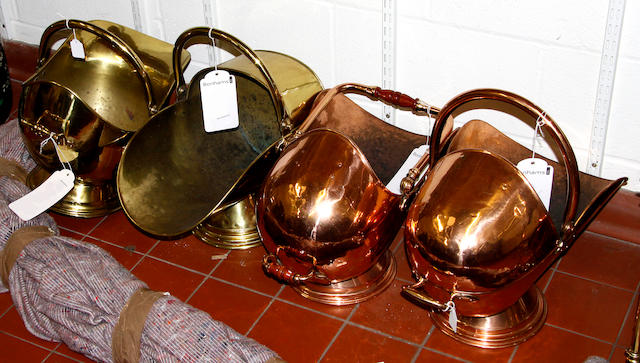 A quantity of brass fire screens,and two copper and two brass coal helmets (8)