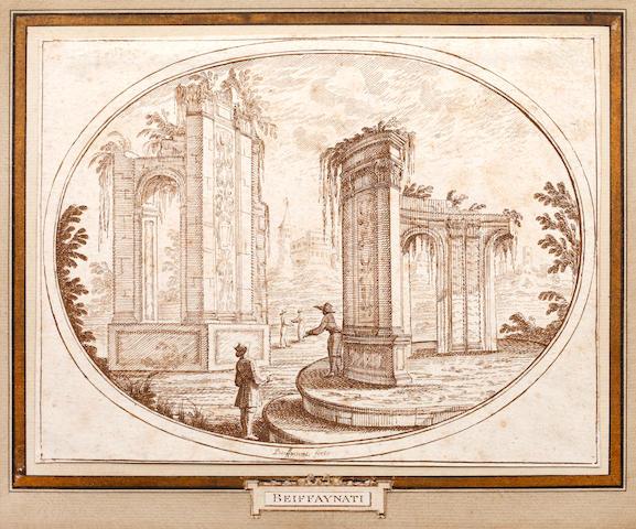 Carlo Antonio Buffagnotti (Italian, born 1660) Figures among classical ruins