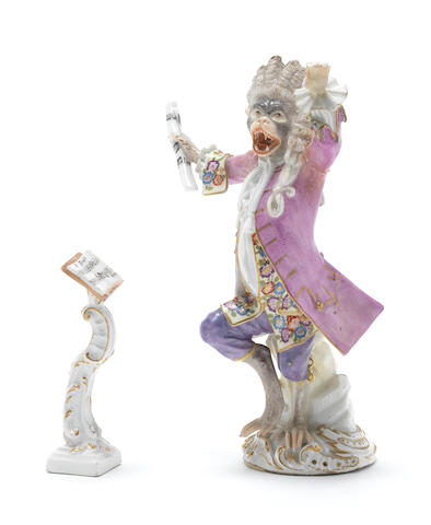 A Meissen monkey band figure of the conductor and his stand, circa 1763-74